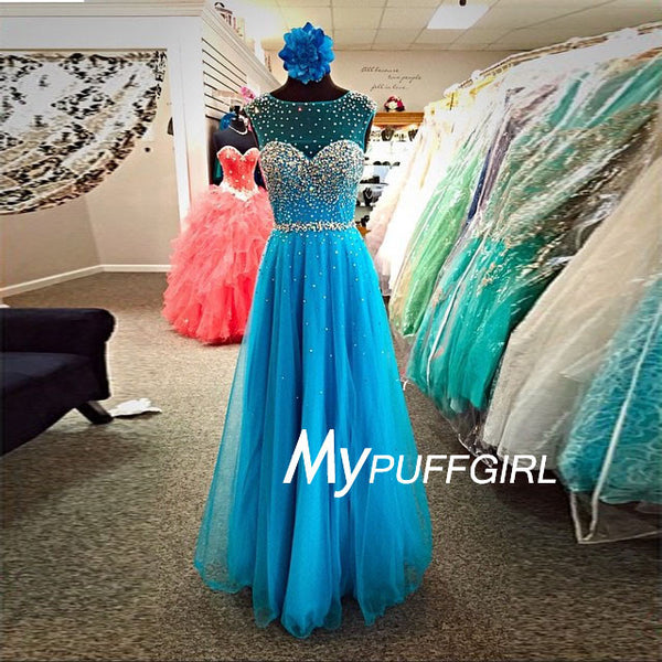 Peacock Blue Beaded And Sequined Illusion Tulle Prom Dress With Cut Out Back