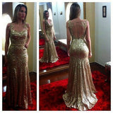 2017 Gold Sequin Illusion Prom Dress, Mermaid Formal Gown With Sheer Back