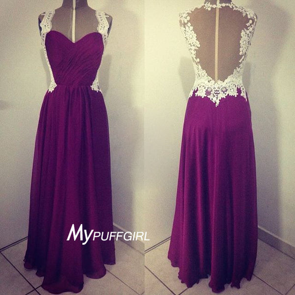 Persian Plum Ruched Sweetheart Chiffon Prom Dress With Sheer Back