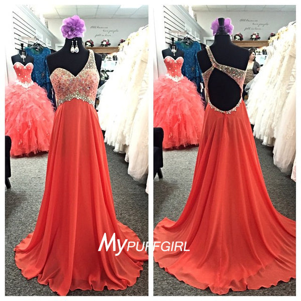 Coral One Shoulder Beaded Bodice Chiffon Prom Dress With Open Back