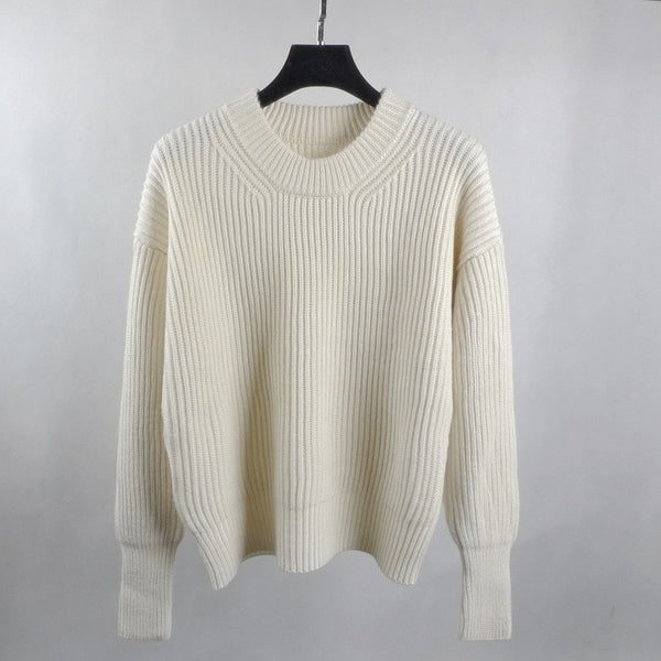 Plain Solid Color Ivory Casual Knitted Pullovers Sweater