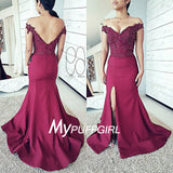 Burgundy Off The Shoulder V Back Mermaid Prom Dress With Lace Appliques Bodice