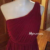 Burgundy One Shoulder Short Bridesmaid Dress With Pleated Bodice