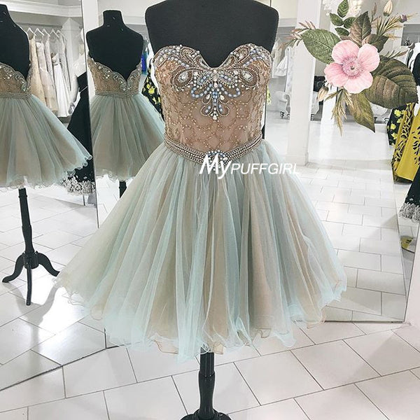 Mint Green Sweetheart Tulle Homecoming Dress With Beaded Nude Bodice