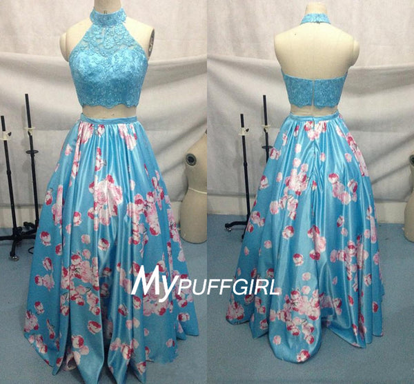 Ice Blue Halter High Neck Two Piece Prom Gown With Printed Taffeta Skirt