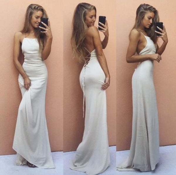 White Halter Prom Dress,Backless Long Party Maxi Dress With Spaghetti Straps
