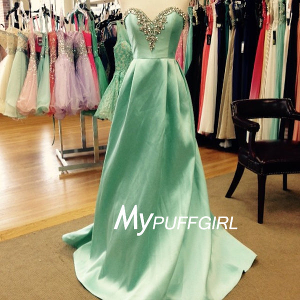 2016 Mint Green Beaded Sweetheart Prom Dress , Satin A Line Gown