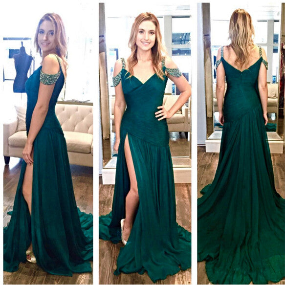 Dark Green Off The Shoulder Prom Dress, Side Slit Formal Gown, Prom Gown