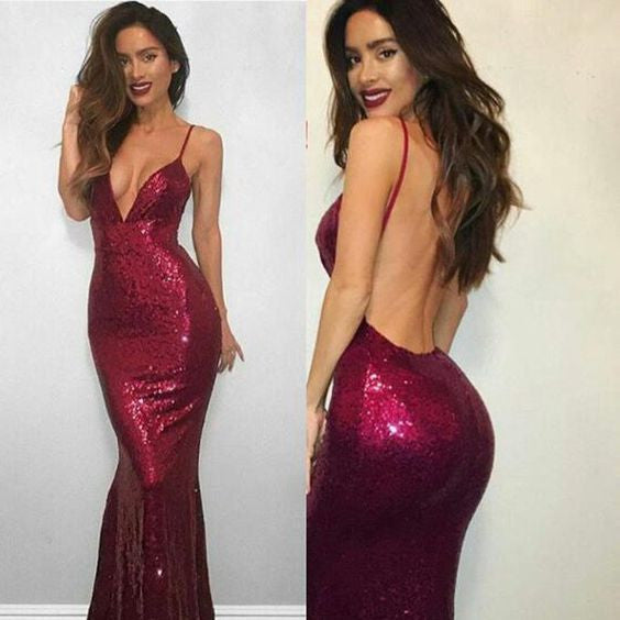 Sexy Fitted Sequin Burgundy V Neck Evening Gown, Backless Long Party Dress