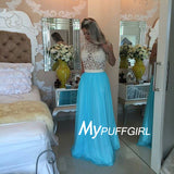 Ivory / Turquoise Lace Beaded Pearls Sashes Chiffon Long Prom Dresses