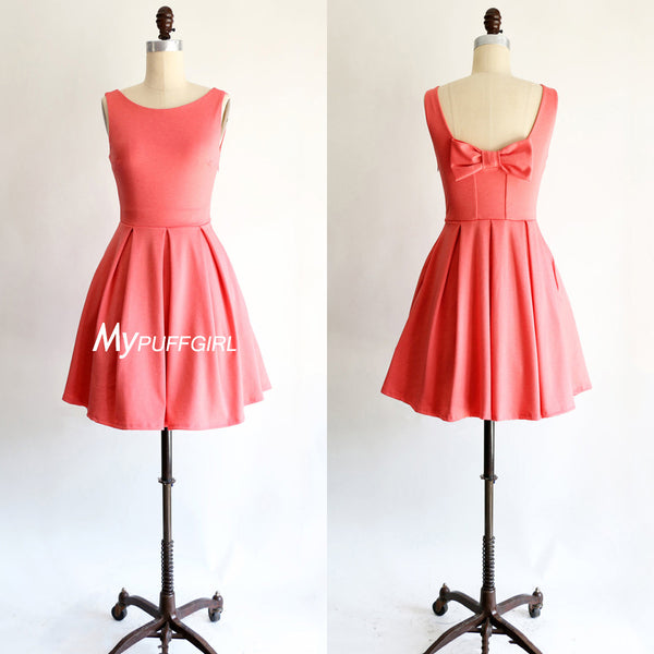 Watermelon Red Satin Cocktail Party Dress With Bow Detail