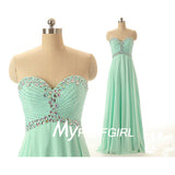 2016 Mint Green Beaded Sweetheart Empire Long Chiffon Prom Dress