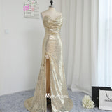 Sequin Gold Sweetheart Sheath Evening Gown ,Prom Dress Side Slit