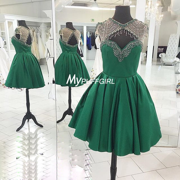 Green Illusion Satin Cocktail Party Dress With Cut Out Bodice And Back