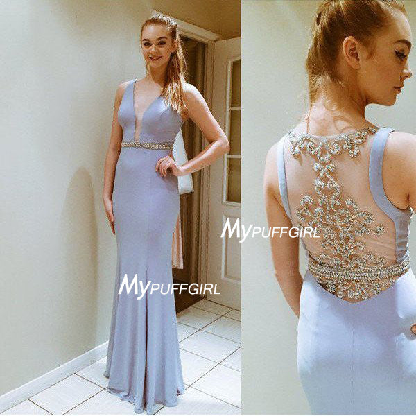 Cloudy Plunging V Neck Jersey Fitted Prom Gown With Beaded Sheer Back