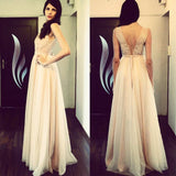 Champagne Illusion Prom Dress,Tulle V Back Long Party Dress With Lace Appliques Bodice
