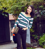 Women Stripe Off The Shoulder Knitted Sweater For Fall