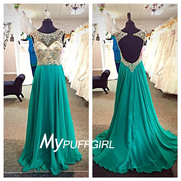Green Illusion Open Back Chiffon Prom Dress With Beaded Nude Bodice