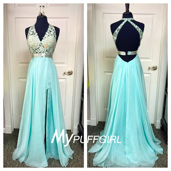 Aqua Halter V Neck Open Back Silk Chiffon Prom Dress With Sheer Lace Bodice