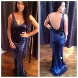 Sequin Royal Blue V Neck Formal Gown, Backless Fitted Evening Dress