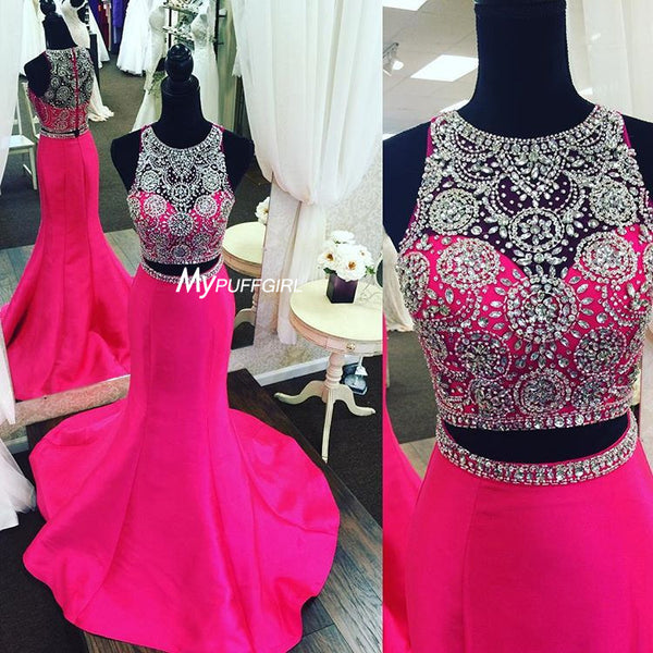 Fuchsia Sleeveless Two Piece Mermaid Prom Formal Gown Beaded Top