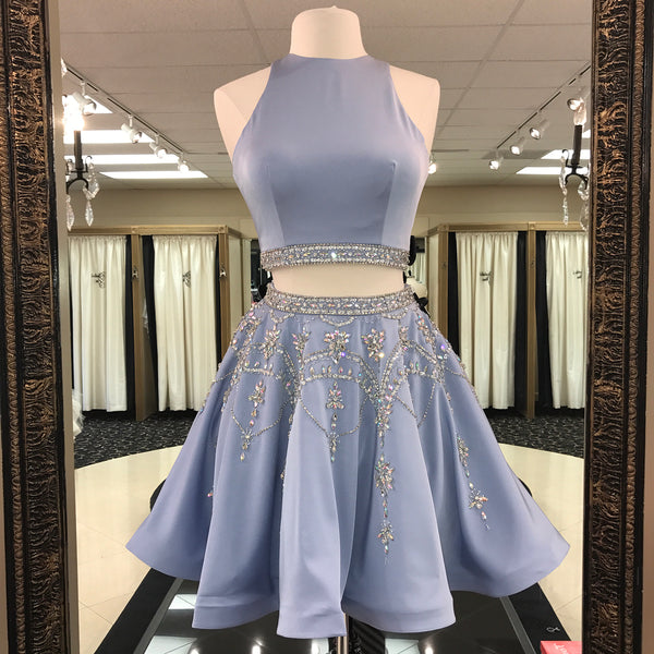 Two Piece Homecoming Dress, Keyhole Back Cocktail Party Dress With Beaded Crop Top