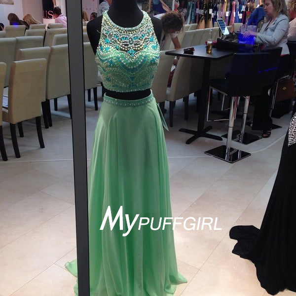 Mint Green Sheer Halter Cut Out Back Two Piece Gown With Beaded Crop Top