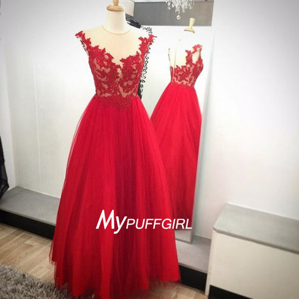Red Illusion Tulle A Line Prom Dress, Formal Gown With Sheer Back