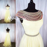 Cap Sleeves Beaded Pearls V Back Prom Gown Pleated Tulle Skirt