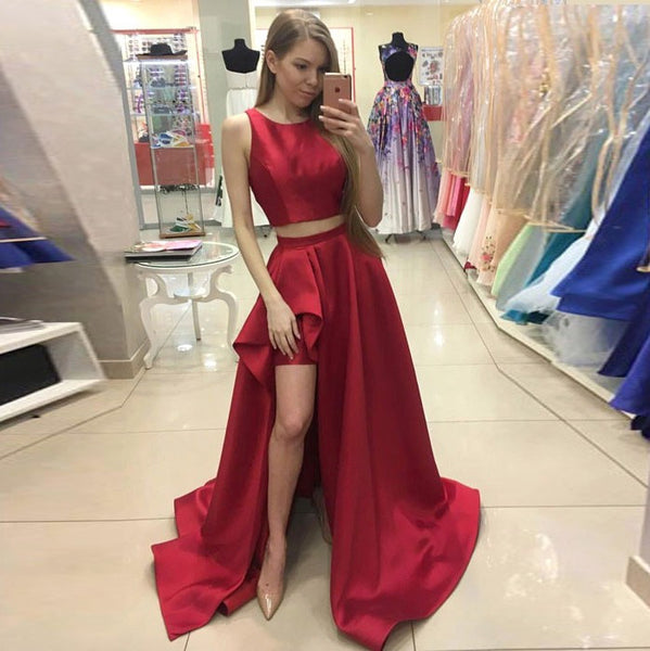 Red Taffeta Two Piece Formal Gown,Sleeveless Prom Dress With Side Slit