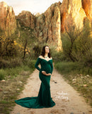 Maternity Dresses For Photography Pregnancy Gown For Women Mermaid Off The Shoulder Long Sleeves