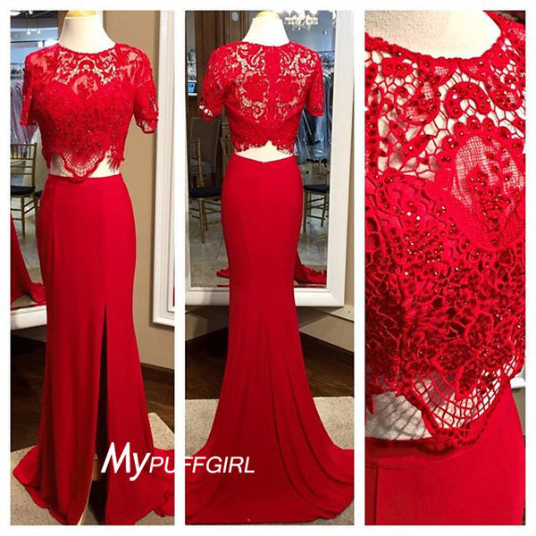 2016 Fitted Red Short Sleeves Two Piece Prom Gown With Lace Crop Top