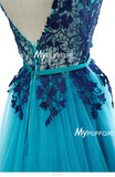 Ocean Blue Tulle Illusion Lace Bodice Prom Dress With V Back
