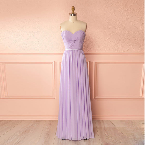 2018 Lavender Sweetheart Chiffon Floor Length Bridesmaid Dress With Draped Bodice
