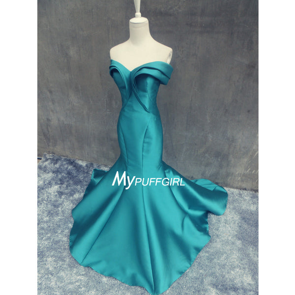 2016 Teal Satin Fit And Flare Mermaid Prom Dress With Sweep Train