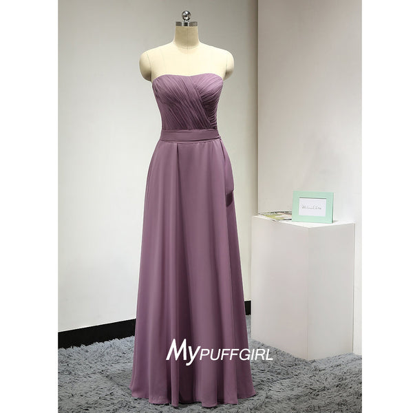 Strapless Chiffon Floor Length Bridesmaid Dress With Pleated Bodice