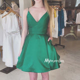 Green V Neck A Line Satin Cocktail Dress , Short Party Dress