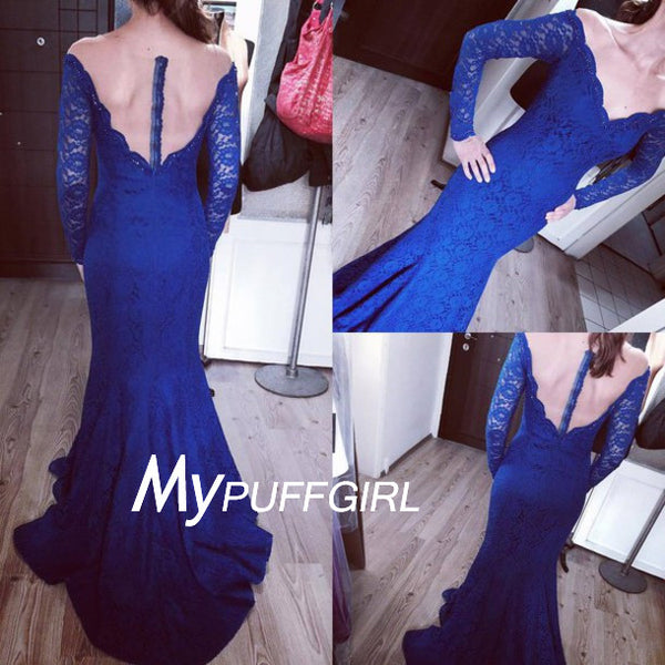 Royal Blue Lace Off The Shoulder Long Sleeves Mermaid Evening Gown With Sheer Back