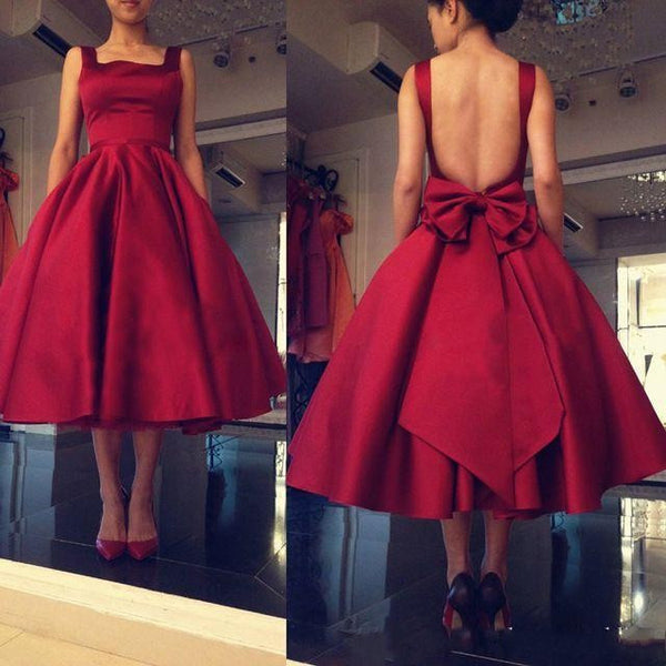 Red Tea Length Homecoming Dress , Backless A Line Party Dress With Bow Detail