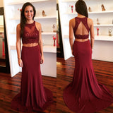 Burgundy Two Piece Prom Dress,Sleeveless Formal Gown With Lace Appliques Top