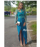 Jade Two Piece Long Sleeve Formal Gown With High Waist Skirt
