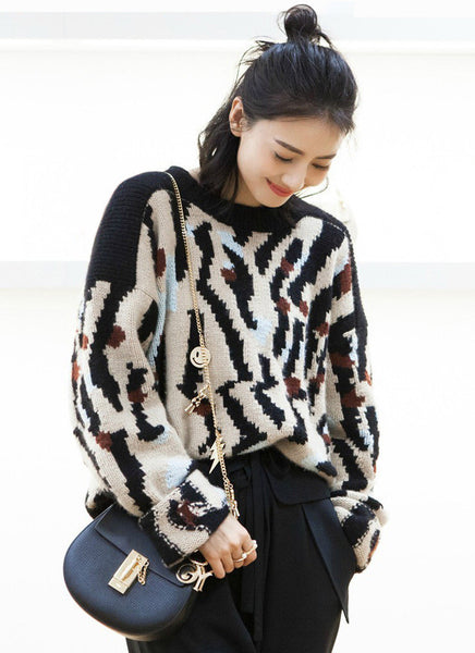 Loose Casual Geometric Knitted Pullovers Sweater For Women
