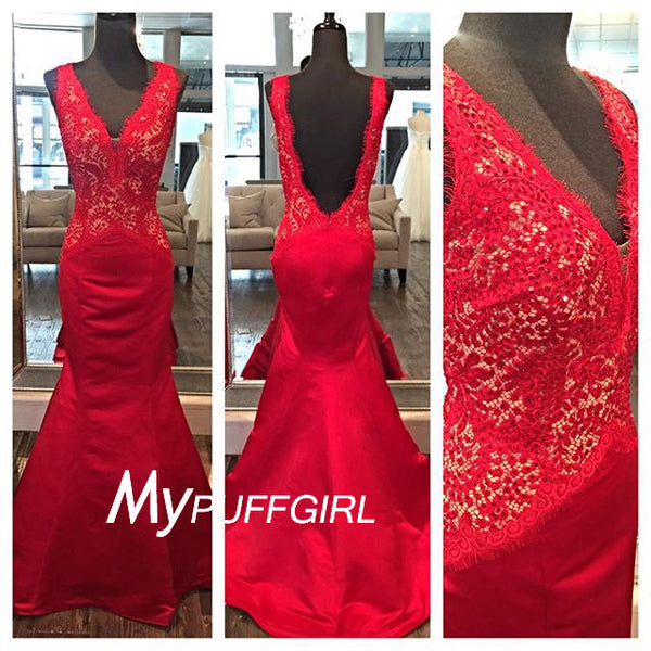 Red Satin V Neck Mermaid Gown , Open Back Lace Prom Dress