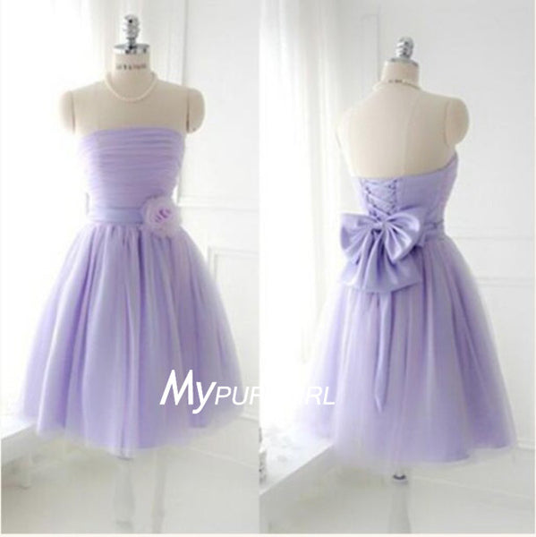 Lavender Strapless Knee Length Bridesmaid Dress With Pleated Bodice