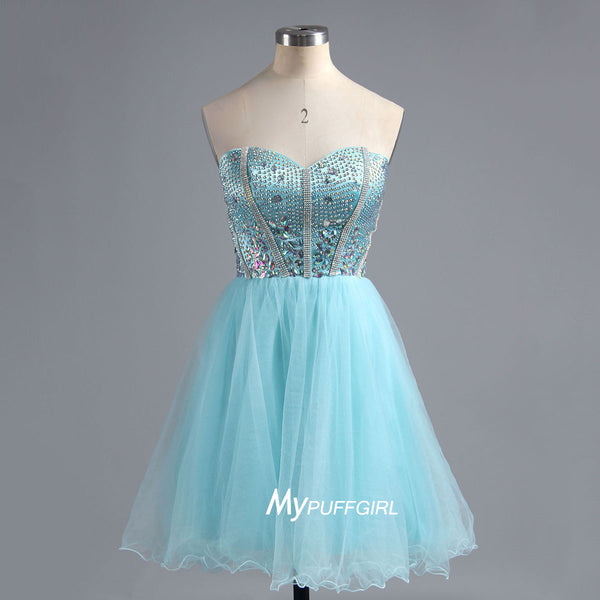 Beaded Ice Blue Sweetheart Tulle Cocktail Dress, Short Party Dress