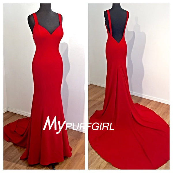 Fitted Red Sweetheart Silk Satin Open Back Formal Gown Wth Straps