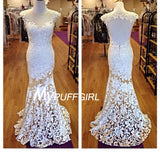 2016 Fitted Lace Cap Sleeves Illusion Prom Dress With Open Back