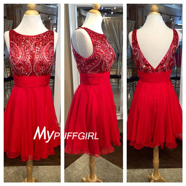 Red Bateau V Back Homecoming Dress With Beaded Bodice