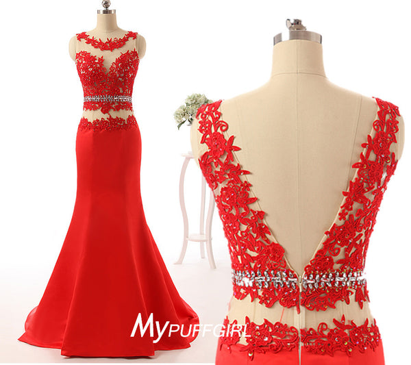Gorgeous Red Illusion V Back Mermaid Formal Prom Gown With Lace Applique