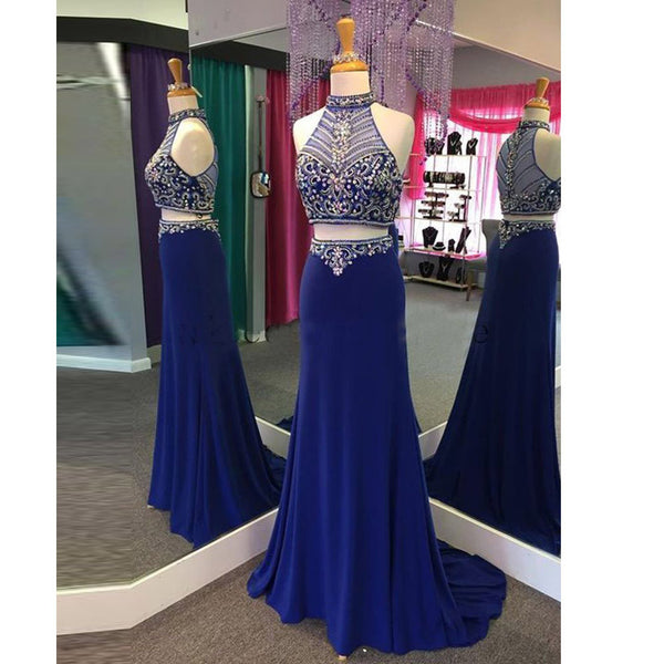 Beaded Royal Blue Two Piece Prom Gown,  Sleeveless Homecoming Dress
